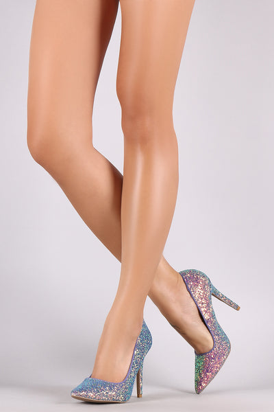 Qupid Encrusted Iridescent Glitter Pointy Toe Stiletto Pump