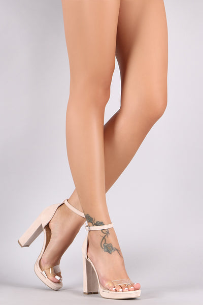 Wild Diva Lounge Suede Open Toe Clear Strap Chunky Heel