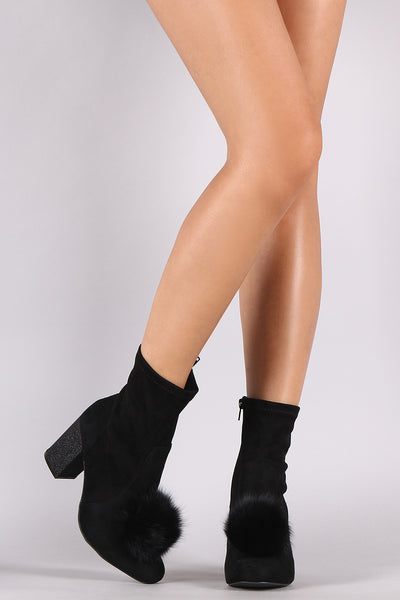 Wild Diva Lounge Suede Pompom Chunky Heeled Ankle Boots