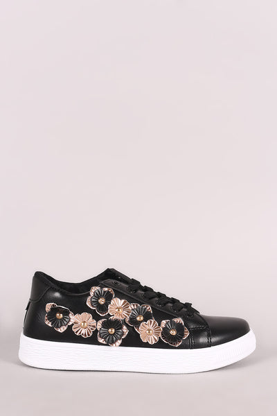 Floral Applique Round Toe Lace-Up Sneaker