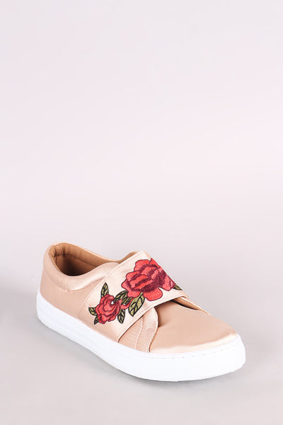 Qupid Satin Embroidered Floral Slip-On Sneaker