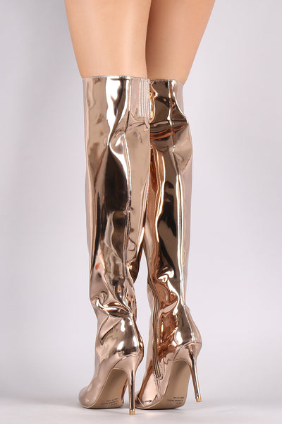 Mirror Metallic Over-The-Knee Boots For Women By Qupid | Shop Women's Fashion Lovely Stylish Mirror Shine Vegan Patent Leather Metallic Pointy Toe Silhouette Wrapped Stiletto Over-The-Knee Fashionable Boots