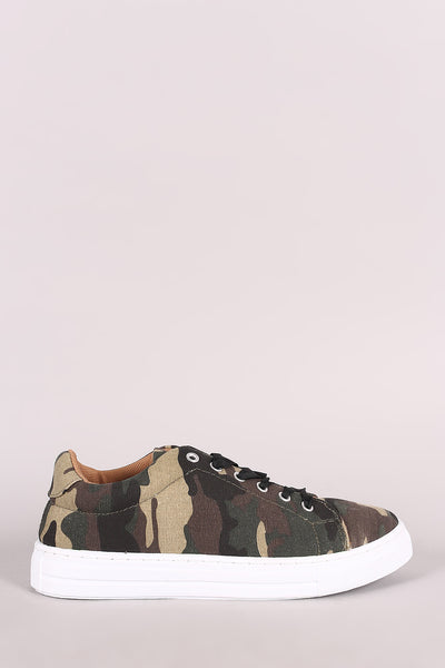 Qupid Camouflage Lace Up Low Top Sneaker