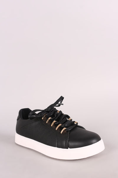 Low Top Round Toe Lace Up Sneaker For Women By Bamboo | Shop Pretty Girl Women's Sneaker ow Top Front Lace-Up  Leatherette Round Toe Fashion Sneaker For Women