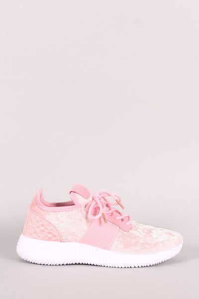 Liliana Velvet Lace Up Rigged Sneaker