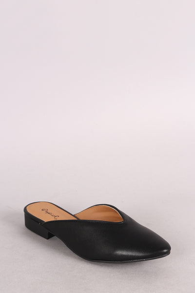 Qupid Leather Pointy Toe Mule Flat