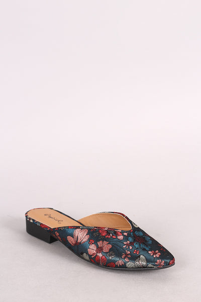 Qupid Satin Floral Brocade Pointy Toe Mule Flat