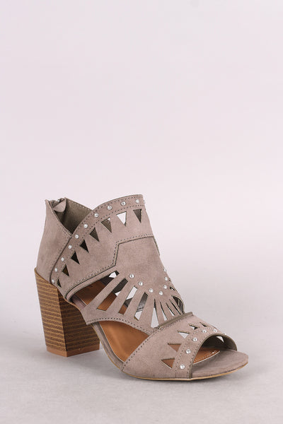 Qupid Suede Studded Peep Toe Cutout Chunky Heeled Booties