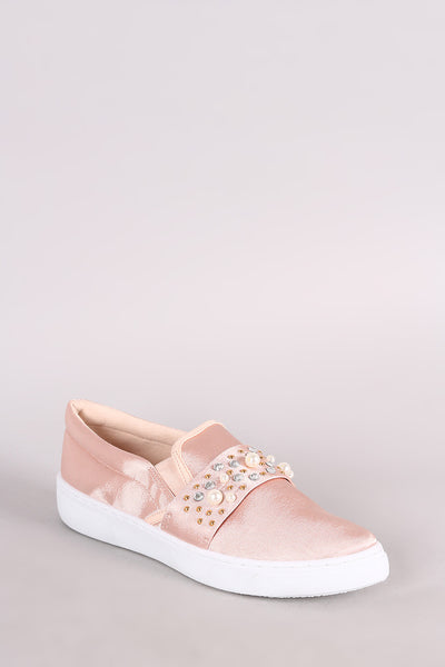 Slip-On Sneaker For Women By Qupid | Shop Women's Fashion Lovely Stylish Smooth Satin Upper With Sparkling Jewel Accents Satin Faux Jeweled Embellished Slip-On Sneaker
