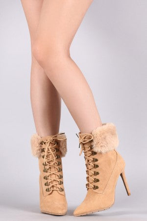 Qupid Suede Faux Fur Collar Stiletto Ankle Boots