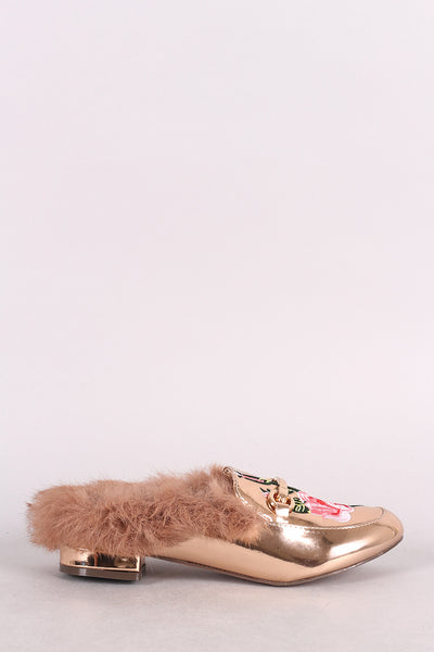 Metallic Horsebit Floral Applique Faux Fur Slip-On Mule Flat