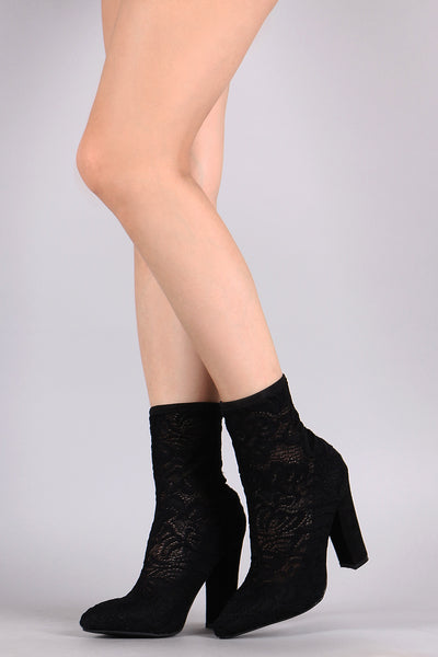Bamboo Floral Lace Pointy Toe Chunky Heeled Booties