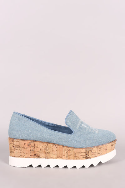LUD l Bamboo Distressed Denim Lug Sole Loafer Platform Wedge For Women A Comfortable & Perfect for outfit For Women