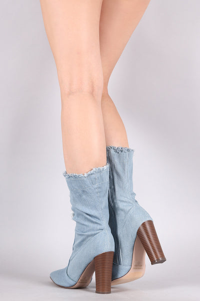 Ripped And Frayed Denim Chunky Heeled Mid Calf Boots