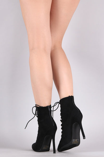 Suede Pointy Toe Corset Lace-Up Stiletto Booties