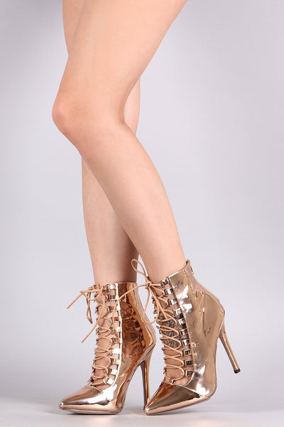 Mirror Metallic Pointy Toe Corset Lace-Up Stiletto Booties