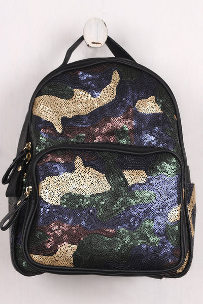 Mini Backpack By LUD | Sequin Camouflage Pattern Mini Backpack This Mini Backpack Vegan Leather Fabrication Camouflage Design With Sequins Contrast Front Back and Large Main Zipper Features Inner Zipper Closure Pocket