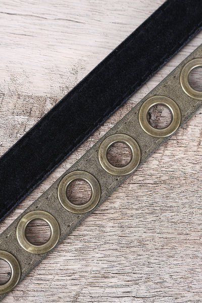 Eyelet Vegan Belt Set For Women By LUD | Shop Women's Fashion Lovely Stylish Fashionable Solid And Eyelet Vegan Suede 2-For-1 Belt Set