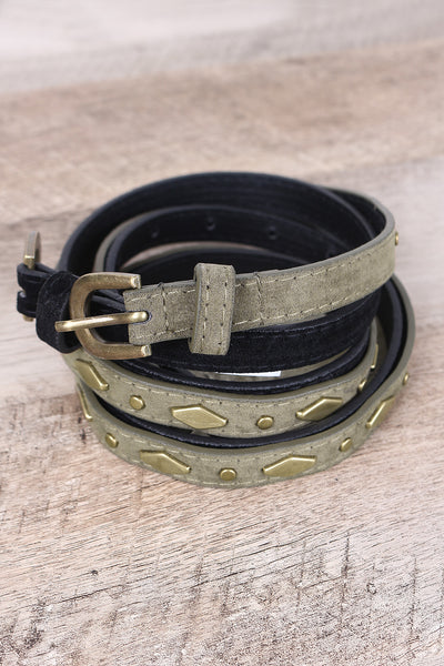 Solid And Stud Accent Vegan Suede 2-For-1 Skinny Belt Set