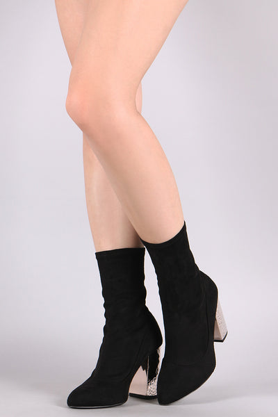 Qupid Suede Textured Metallic Chunky Heeled Boots