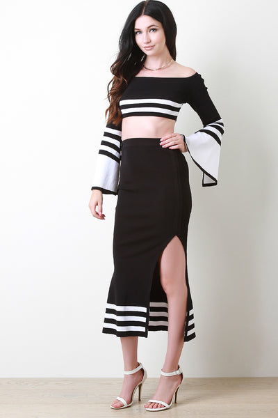 Slit Skirt Set Women's Clothing By Striped Skirt Striped Bardot Top | Striped Bardot Statement Sleeve Top With Slit Skirt Set