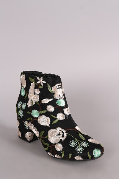Blocky Heeled Booties For Women By Qupid | Shop Women's Fashion Lovely Stylish Boots Embroidered Floral Brocade Satin Round Toe Silhouette Wrapped Blocky Heeled Booties