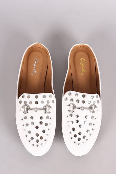 Qupid Studded Horsebit Ornament Mule Flat