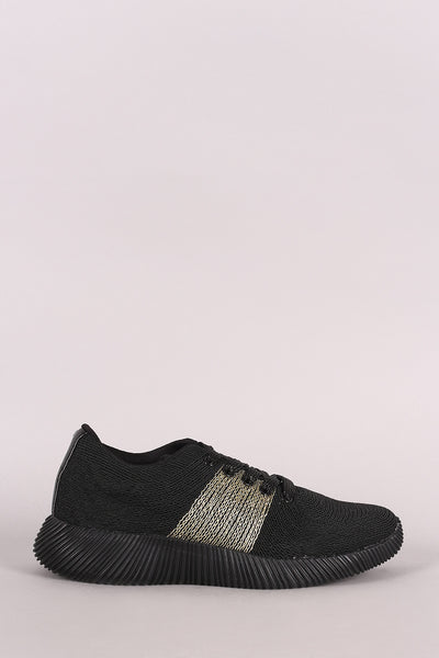 Qupid Knit Sparkly Lace Up Rigged Sneaker
