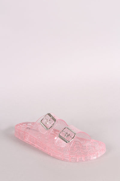 Buckled Jelly Slide Sandal For Women By Bamboo | Women Fashion Sandal Glitter Open Toe Double Bands With Buckle Accents Buckled Jelly Slide Sandal For Women