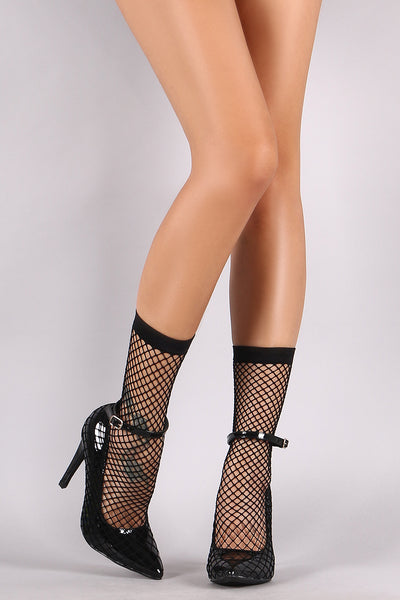 Fishnet Mesh Booties For Women By LUD | Women Fashion Patent Fishnet Mesh Pointy Toe Stiletto Booties