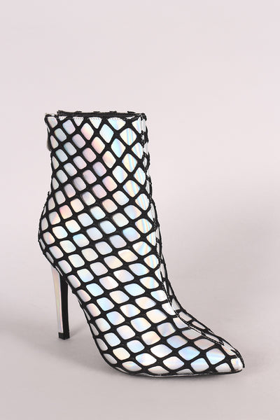 Netted Holographic Pointy Toe Stiletto Booties