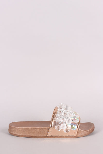 Crystal Open Toe Slide Sandal For Women By LUD | Shop Women's Fashion Open Toe Crystal Rhinestone Studded Glitter Slip-On Flat Slide Sandal