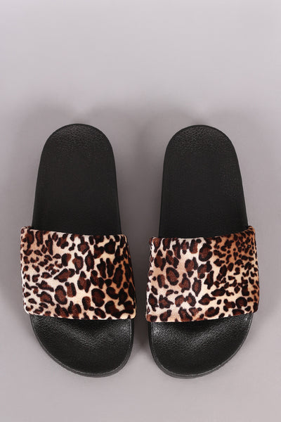 Velvet Leopard Slide Sandal For Women By Qupid | Shop Women's Fashion Lovely Stylish Fashionable  Velvet Wide Band Leopard Open Toe Silhouette Slide Sandal
