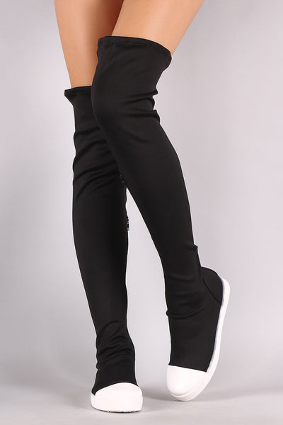 Bamboo Contrast Cap Toe Over-The-Knee Sneaker Boots