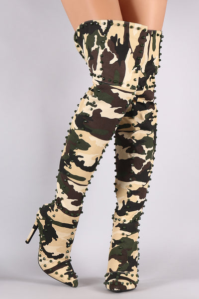 Pointy Toe Over-The-Knee Boots For Women By LUD | Shop Women's Fashion Camouflage Studded Pointy Toe Stiletto Over-The-Knee Boots