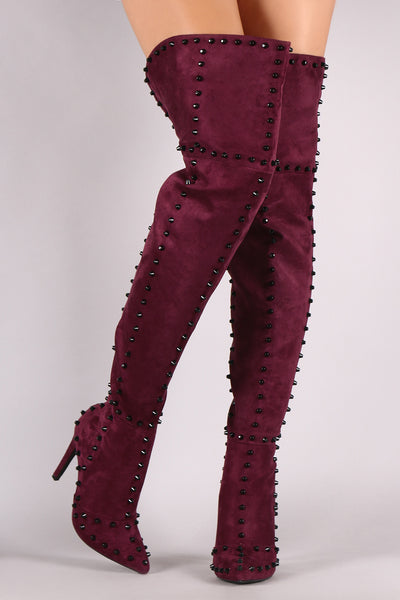 Suede Studded Pointy Toe Stiletto Over-The-Knee Boots