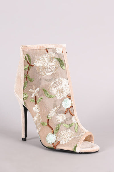 Qupid Floral Accent Velvet Peep Toe Stiletto Booties