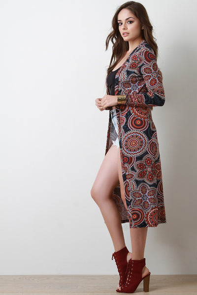 Paisley Cardigan Longline Cardigans For Women By Paisley Print Open Front | Paisley Print Open Front Longline Cardigan