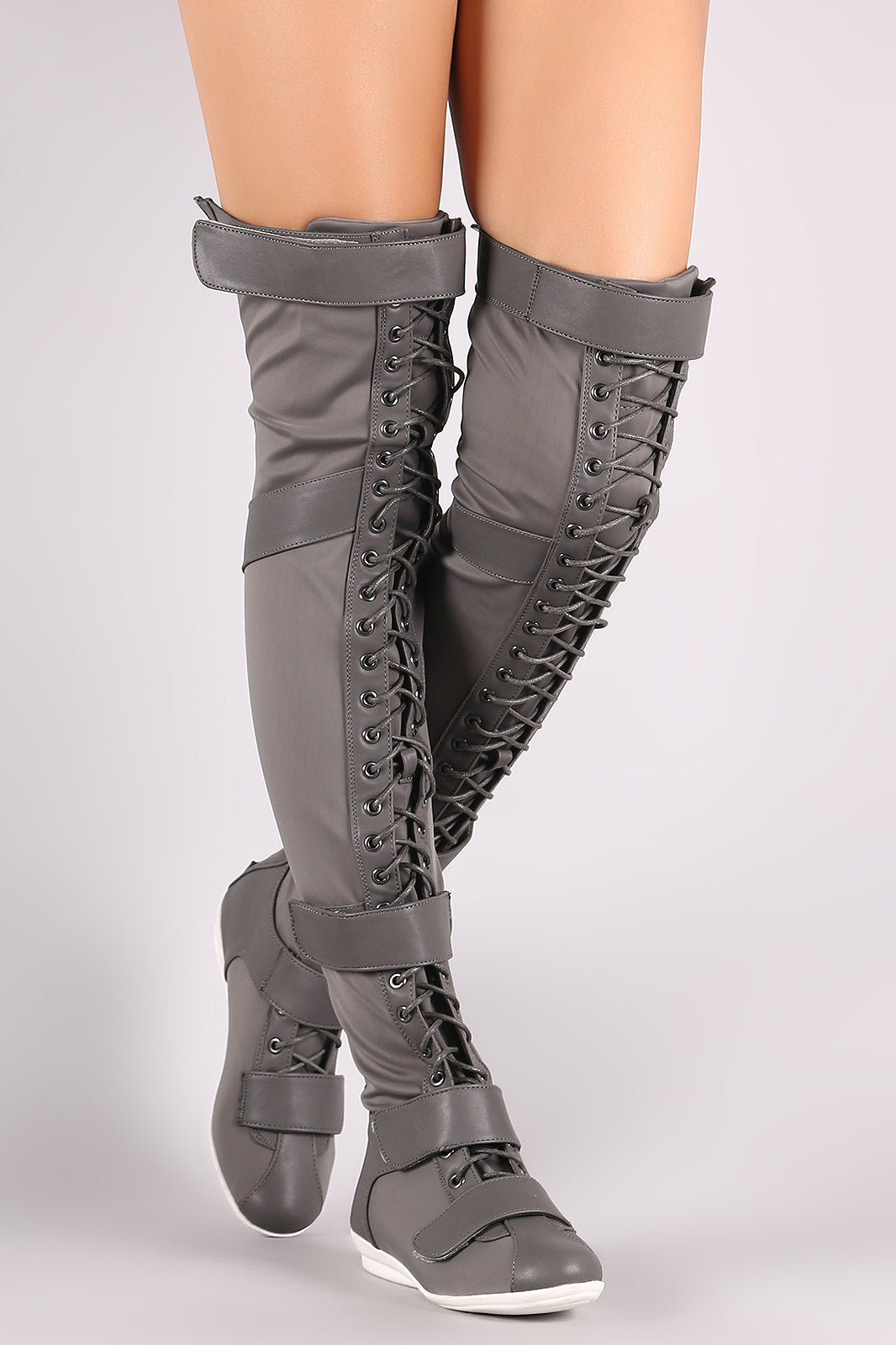 Liliana Hook And Loop Lace Up Strappy Over-The-Knee Flat Boots