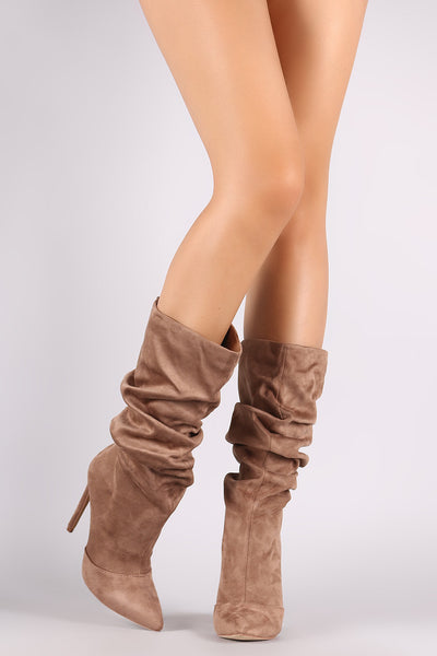 Liliana Suede Slouchy Pointy Toe Stiletto Boots