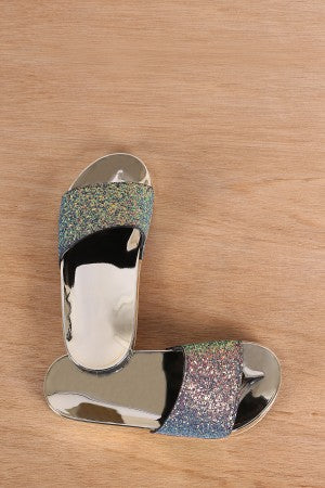 Glitter Open Toe Slide Sandal For Women By Bamboo | Women Fashion Encrusted Iridescent Glitter Open Toe Slide Sandal Open Toe Soft Girls Indoor Outdoor Shoes For Women