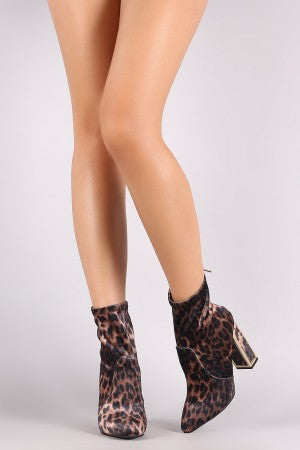 Bamboo Fitted Velvet Leopard Pointy Toe Chunky Heel Booties