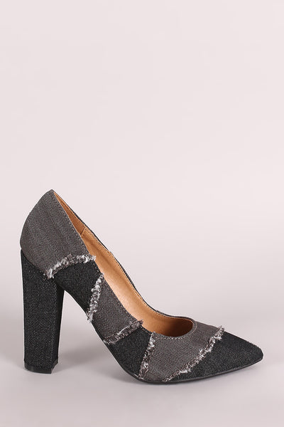 Denim Pointy Toe Pump For Women By Bamboo | Women Fashion Frayed Colorblock Denim Pointy Toe Pump A Pointy Toe And On A Chunky Heel Slip On Style For Women