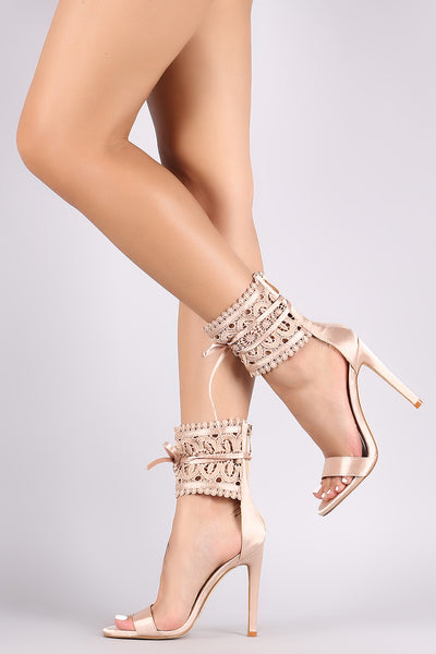 Crochet Ankle Cuff Satin Single Sole Stiletto Heel