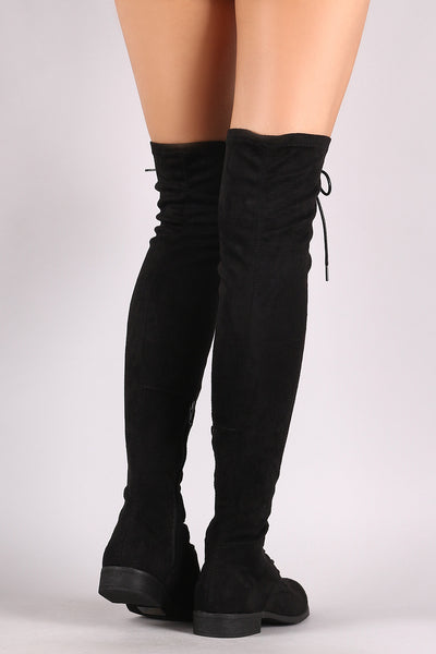 Over-The-Knee Combat Boots For Women By Wild Diva | Shop Women's Fashion Wild Diva Lounge Suede Lace Up Over-The-Knee Combat Boots Partial Inner Side Zipper Closure And An Almond Toe Silhouette Combat Boots