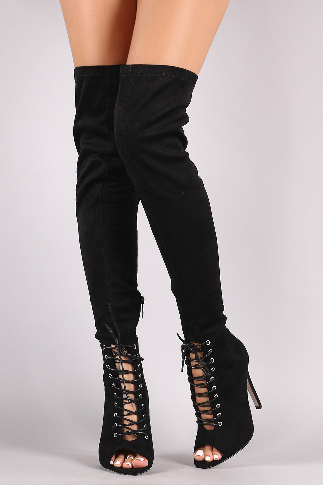 Over-The-Knee Boots For Women By Wild Diva | Women's Fashion Lounge Slightly Stretchy Vegan Suede Shaft Lace Up Stiletto Over-The-Knee Boots
