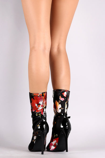 Floral Round Toe Buckle Strap Stiletto Mid-Calf Boots