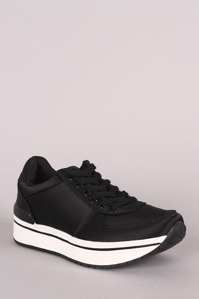 Qupid Satin Lace-Up Low Top Sneaker