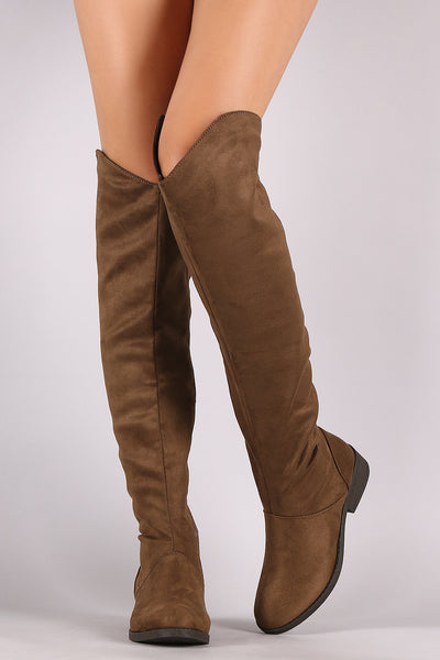 Qupid Suede Riding Knee High Boots