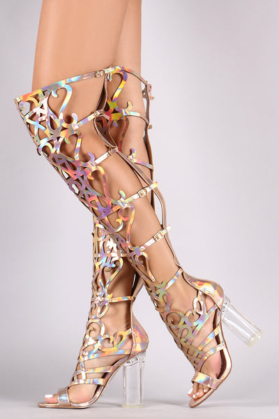 Holographic Caged Cutout Over-The-Knee Gladiator Heel